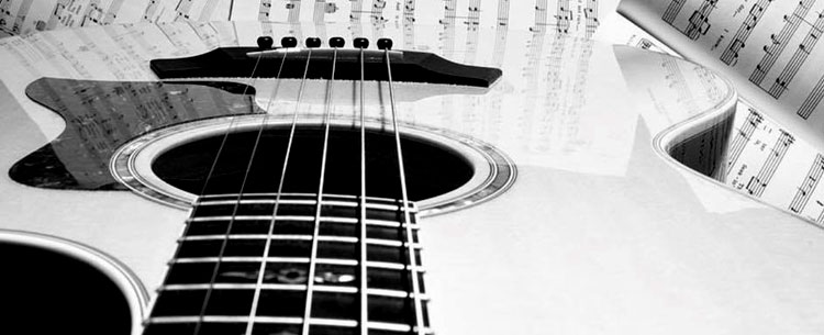 black & white photo of guitar